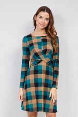 Blue | Checked Knitted Tunic Dress