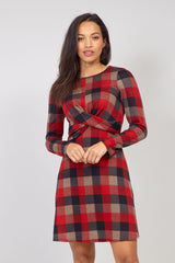 Red | Checked Knitted Tunic Dress