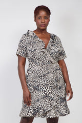 Beige | Curve Animal Print Wrap Dress