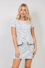 White | Shift Dress with Faux Pockets