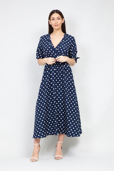 Navy | Polka Dot Wrap Front Midi Dress | Izabel London