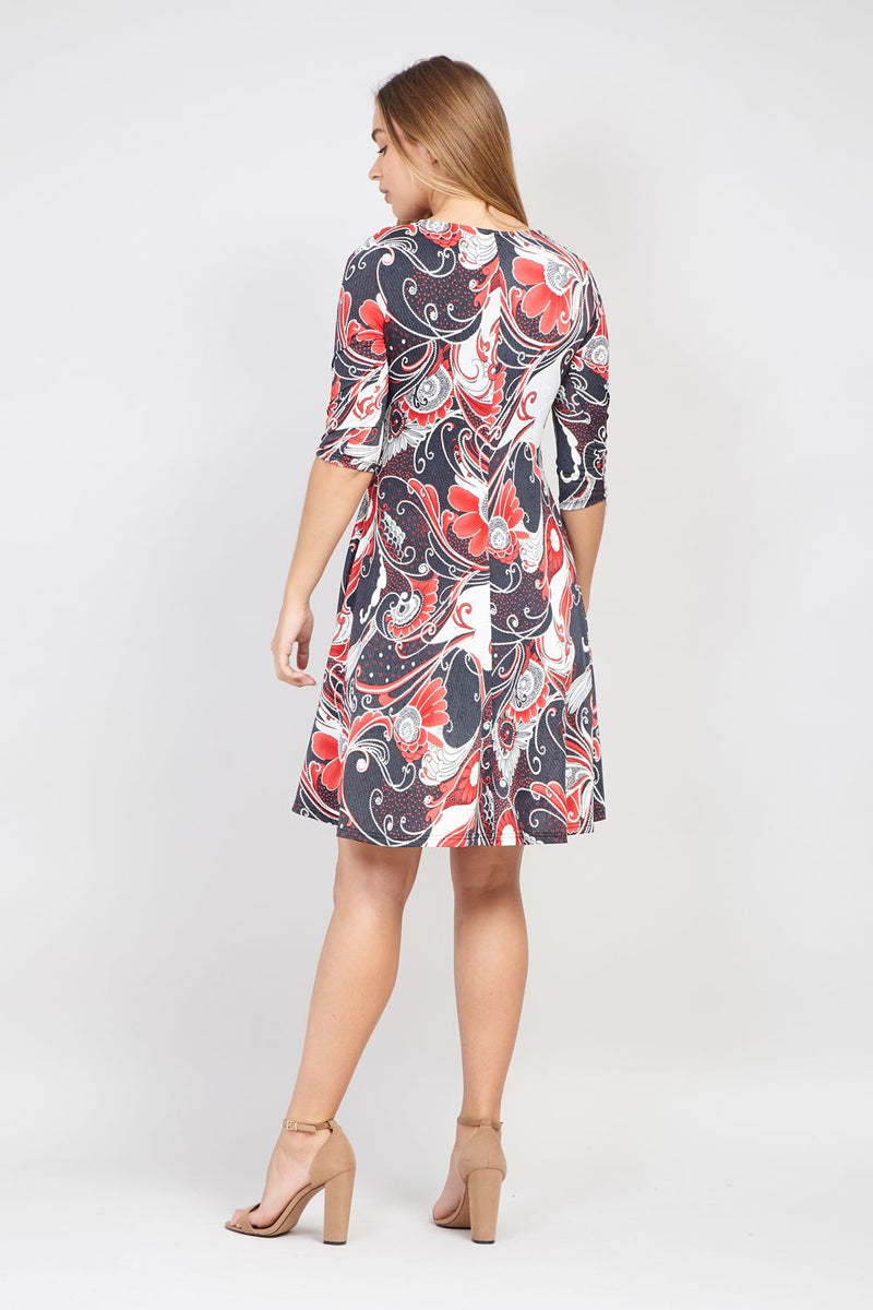 Red | Eastern Print Zip Front Dress