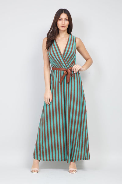 Teal | Striped Wrap Front Maxi Dress | Izabel London