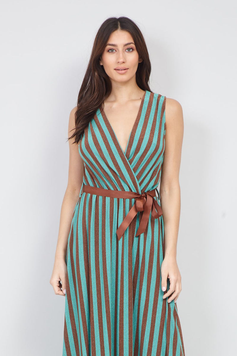 Teal | Striped Wrap Front Maxi Dress