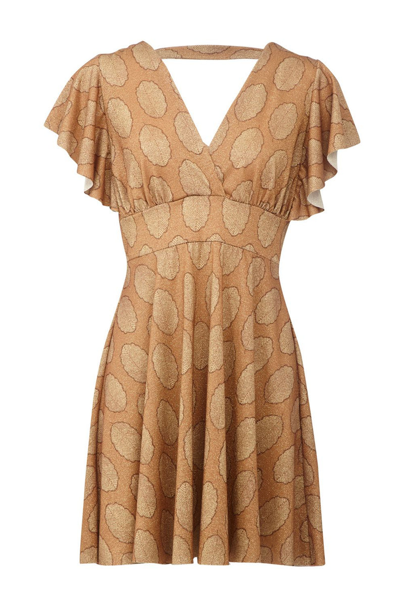 Brown | Leaf Print Frill Sleeve Dress