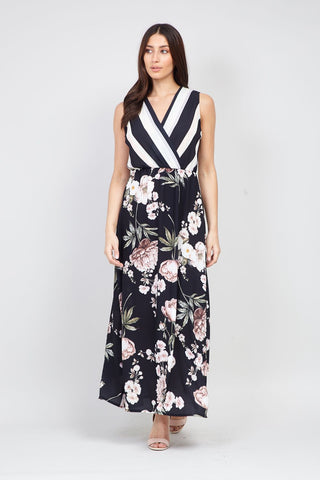 Paisley Print Tie Waist Maxi Dress