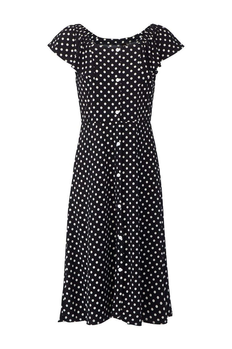 Black | Polka Dot Button Front Dress