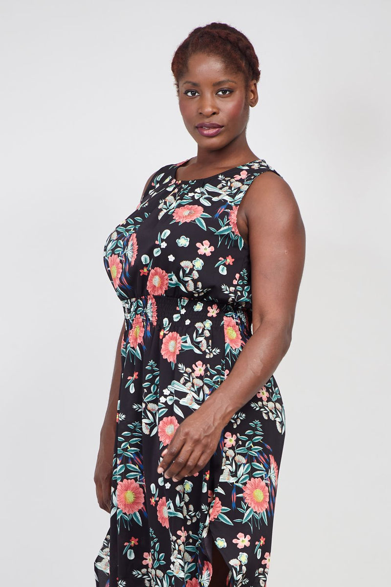 Black | Curve Blossom Floral Midi Dress