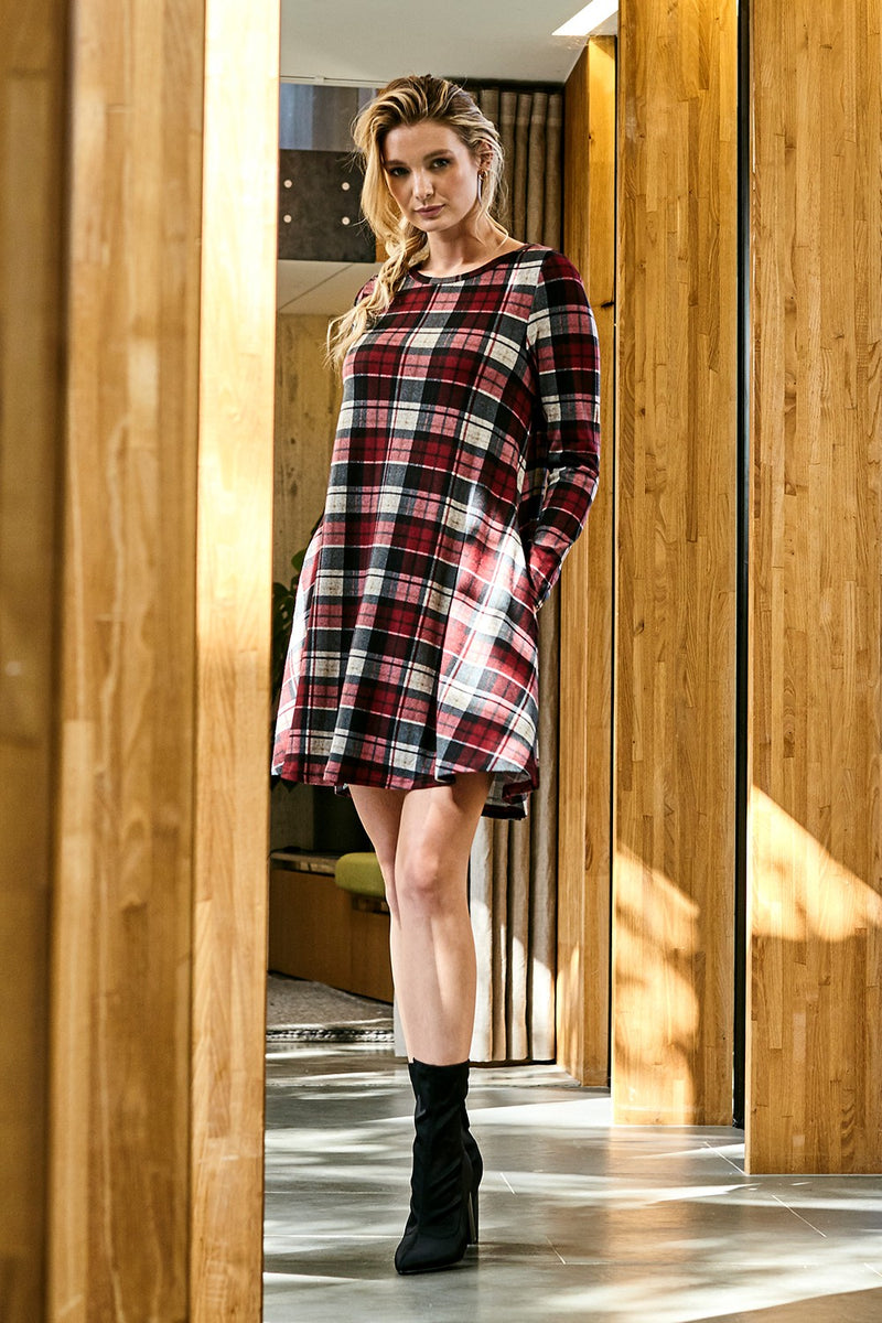 Red | Checked Long Sleeve Swing Dress