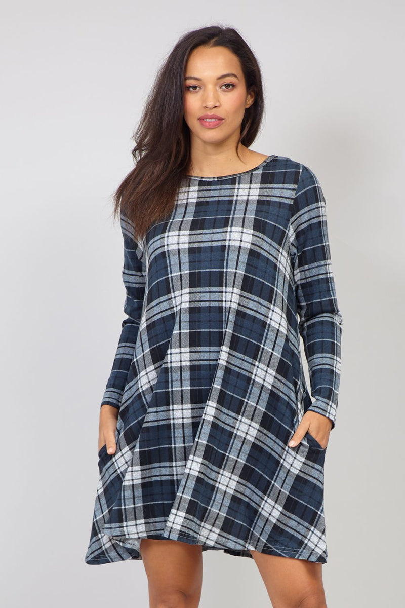 Grey | Checked Long Sleeve Swing Dress