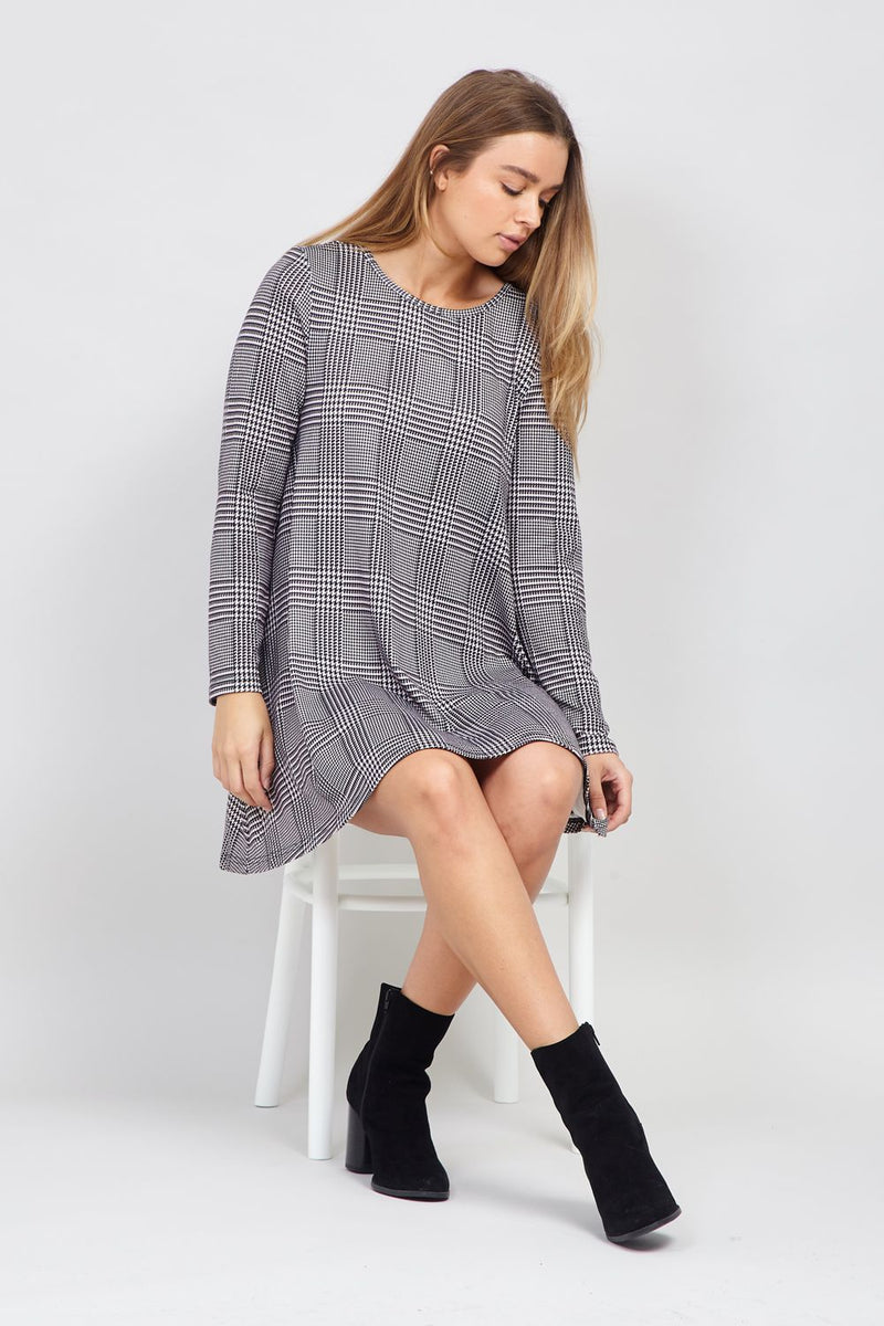 Black | Checked Swing Dress