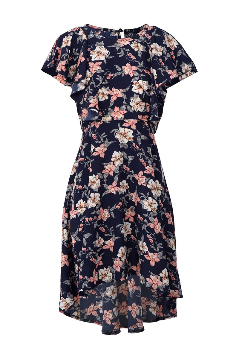 Navy | Floral High Low Dress