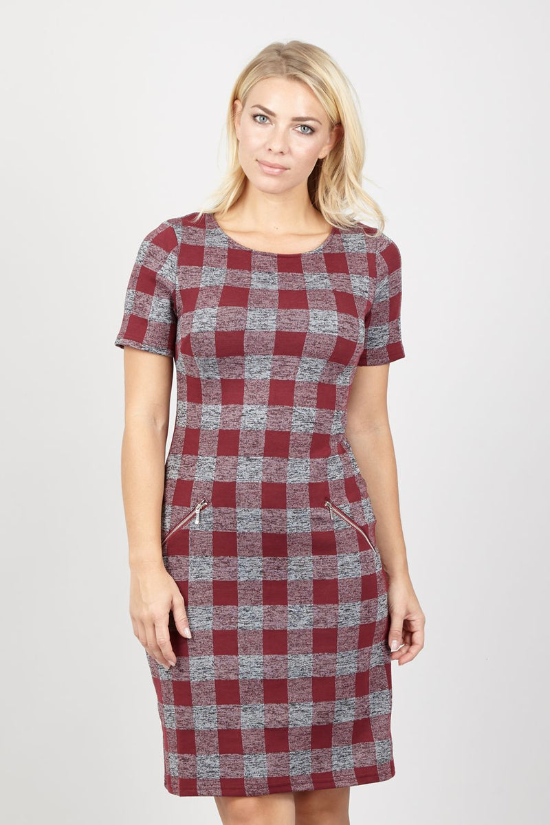 Red | Checked Shift Dress