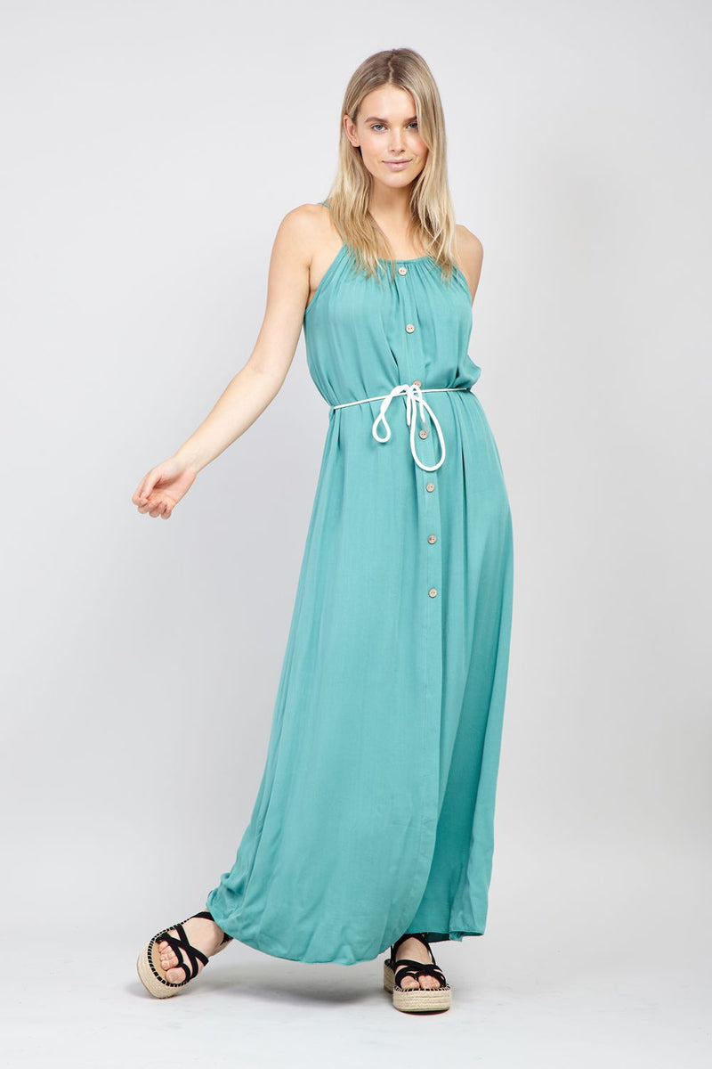 Green | Button Front Maxi Dress