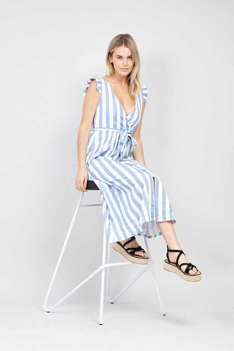 Blue | Striped Button Front Dress