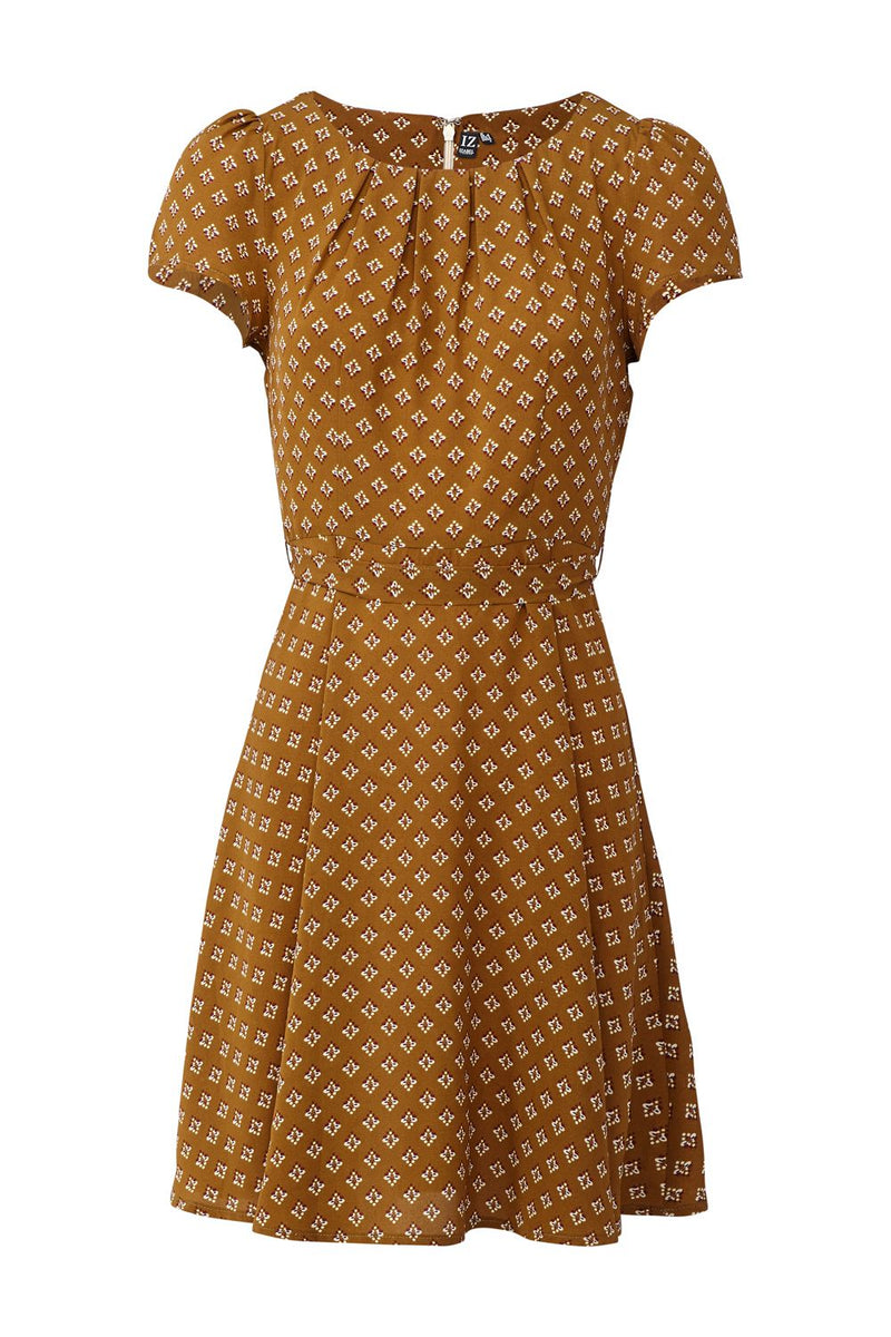 Brown | Ditsy Printed Tea Dress