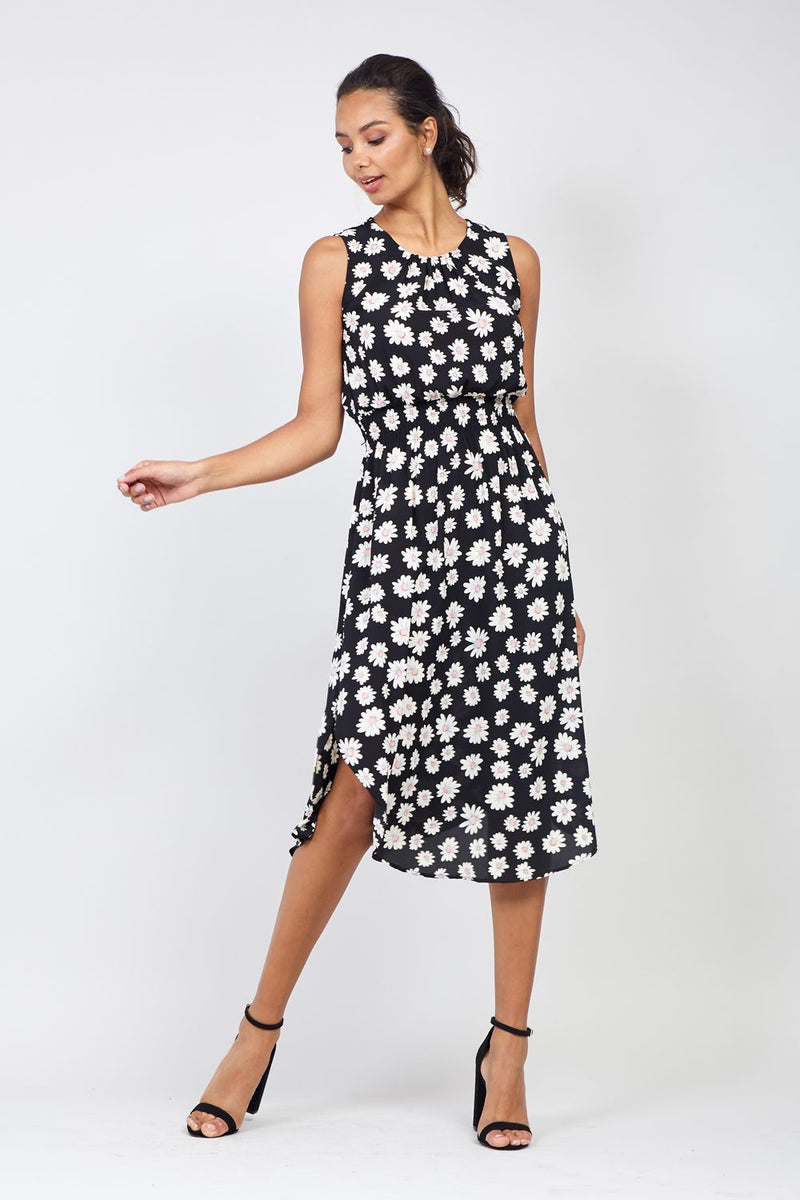 Black | Daisy Print Curve Hem Midi Dress