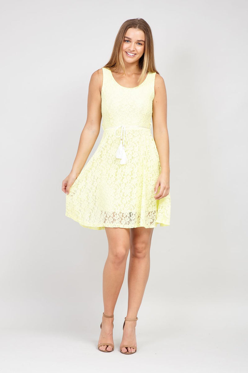 Yellow | Lace Skater Dress