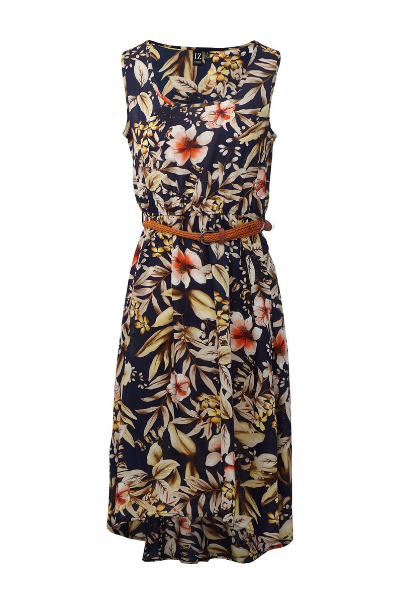 Navy | Floral Print Belted Dress