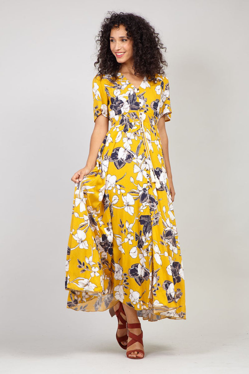 Mustard | Button Front Floral Maxi Dress