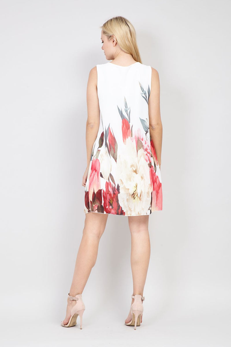White | Blossom Print Tunic Dress