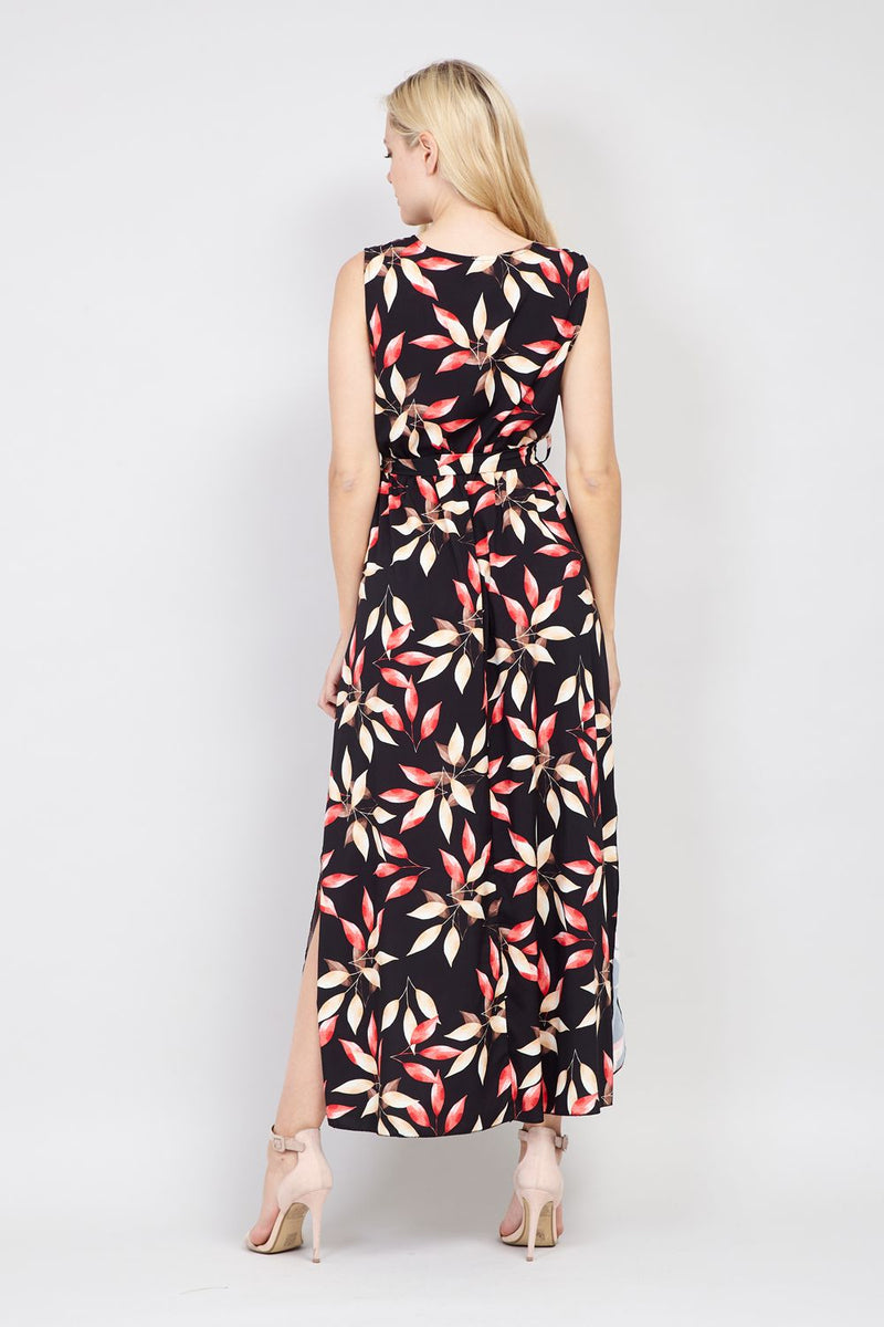 Black | Leaf Print Maxi Dress