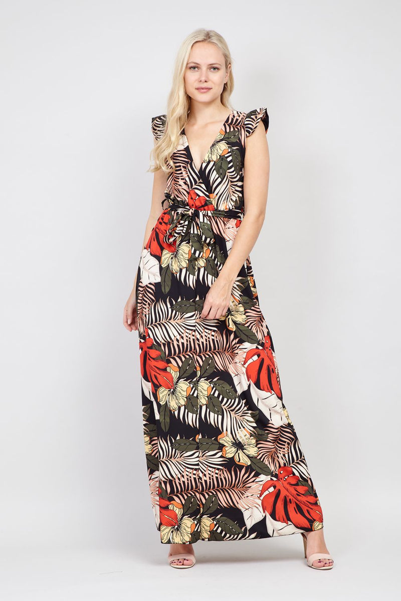 Black | Tropical Tie Waist Maxi Dress