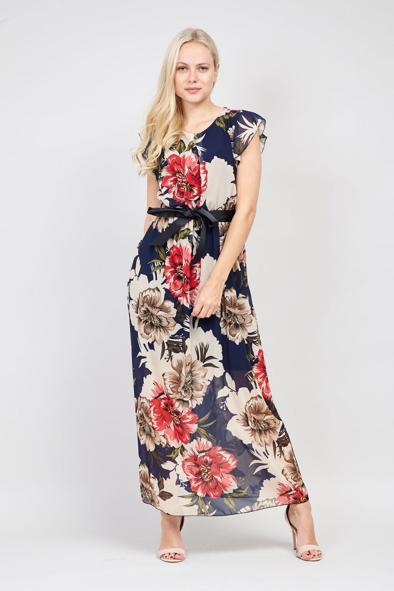 Navy | Frill Sleeve Maxi Dress