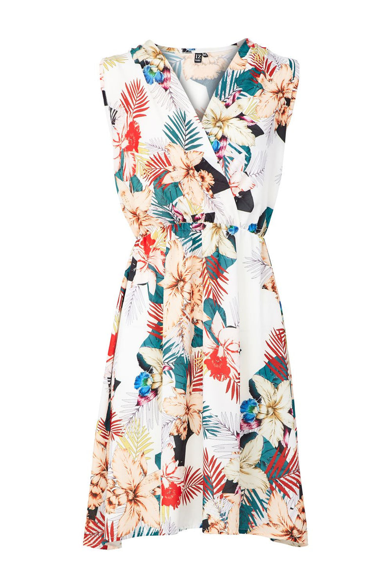 White | Tropical Wrap Dress