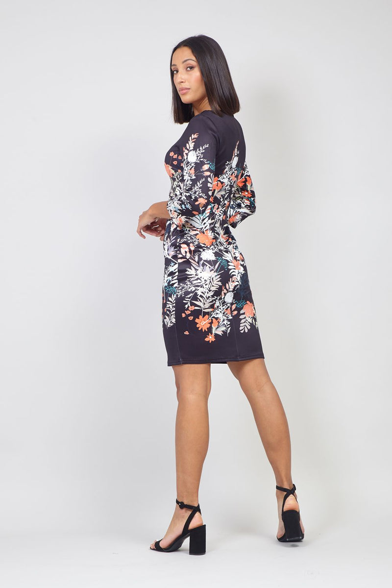 Black | Floral Shift Dress