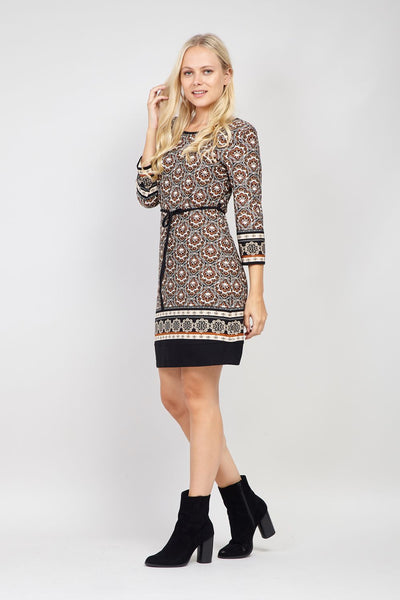 Brown | Eastern Print Tie Waist Dress