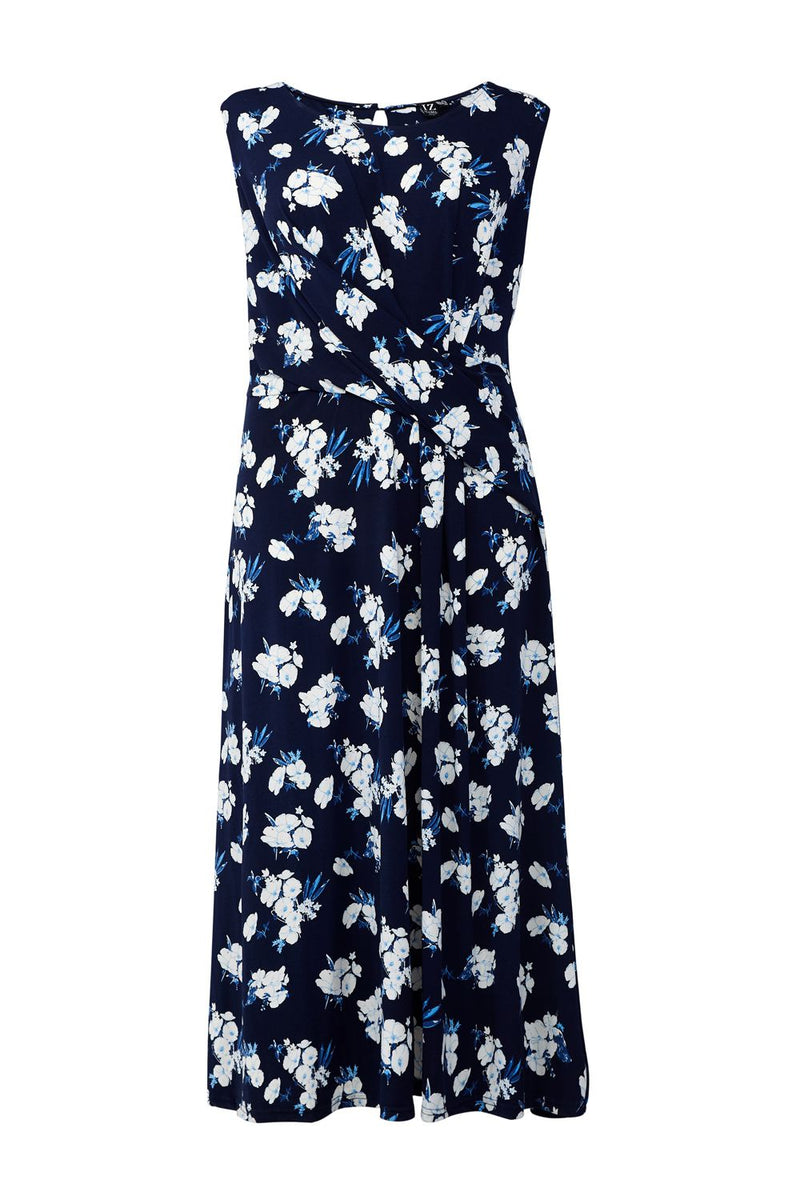 Navy | Floral Ruched Midi Dress