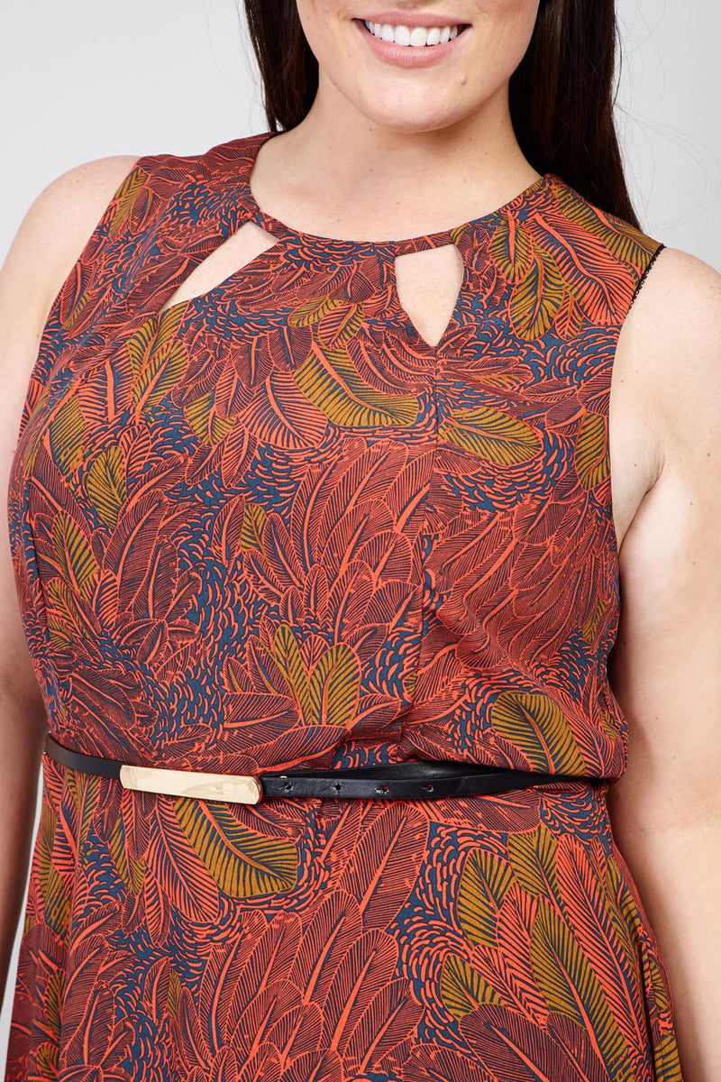 Orange | Leaf Print Skater Dress