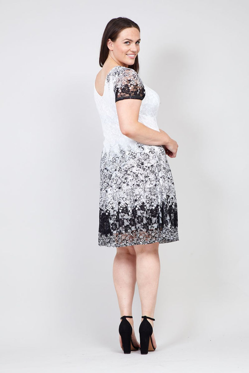 Black And White | Floral & Lace Skater Dress