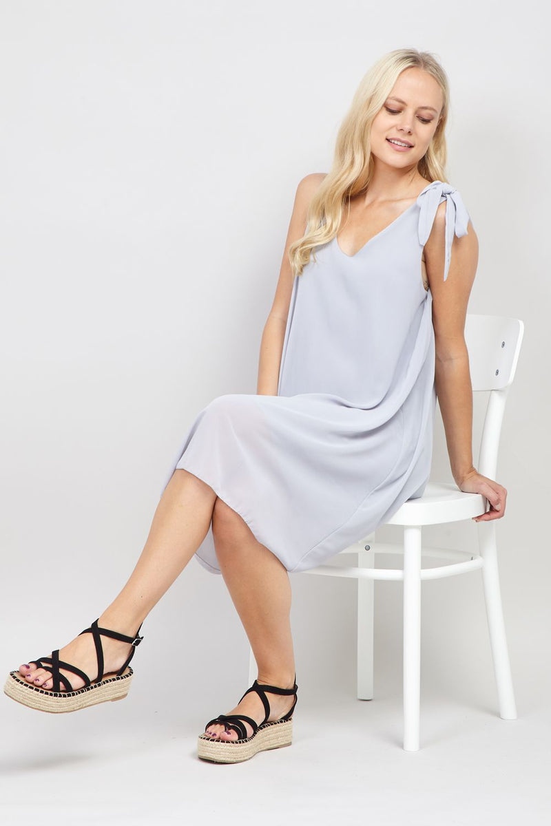 Light Grey | Tie Sleeve Shift Dress