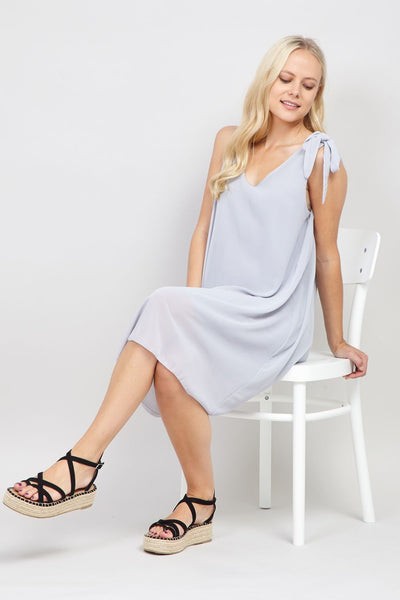 Grey | Tie Sleeve Shift Dress | Izabel London