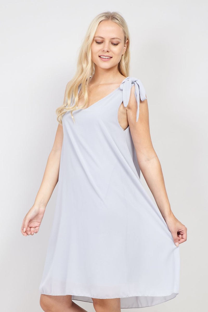 Grey | Tie Sleeve Shift Dress