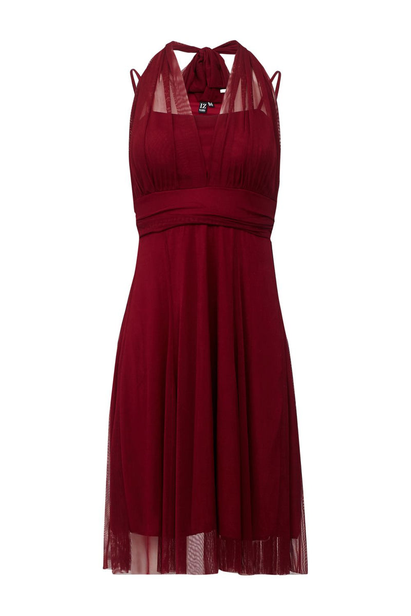 Red | Sheer Overlay Cami Dress
