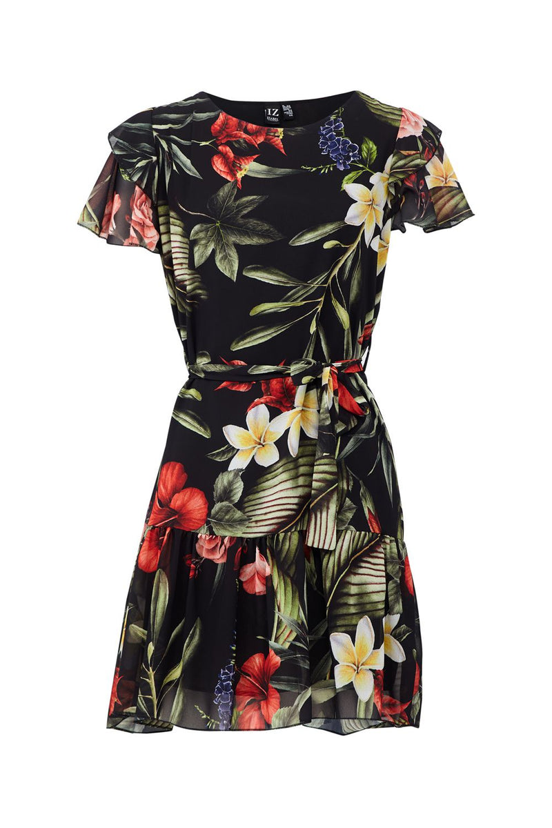 Black | Tropical Skater Dress