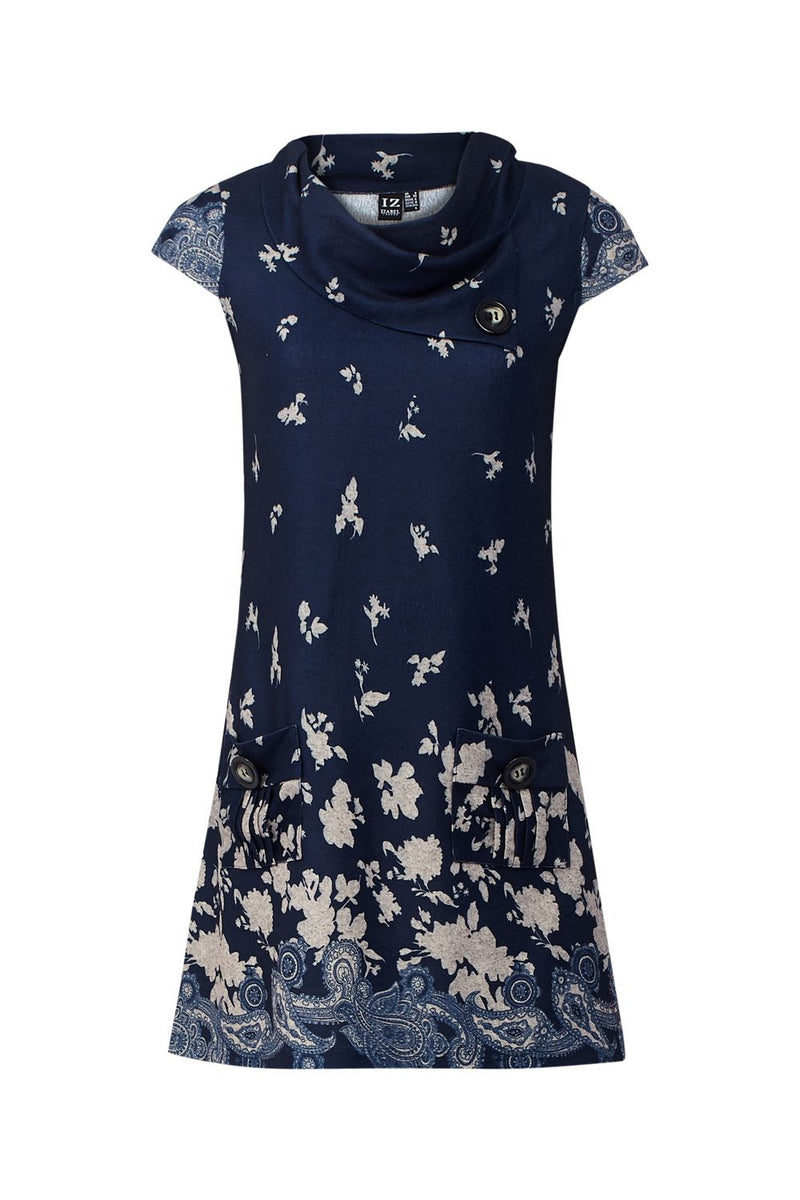 Navy | Floral Knit Tunic Dress