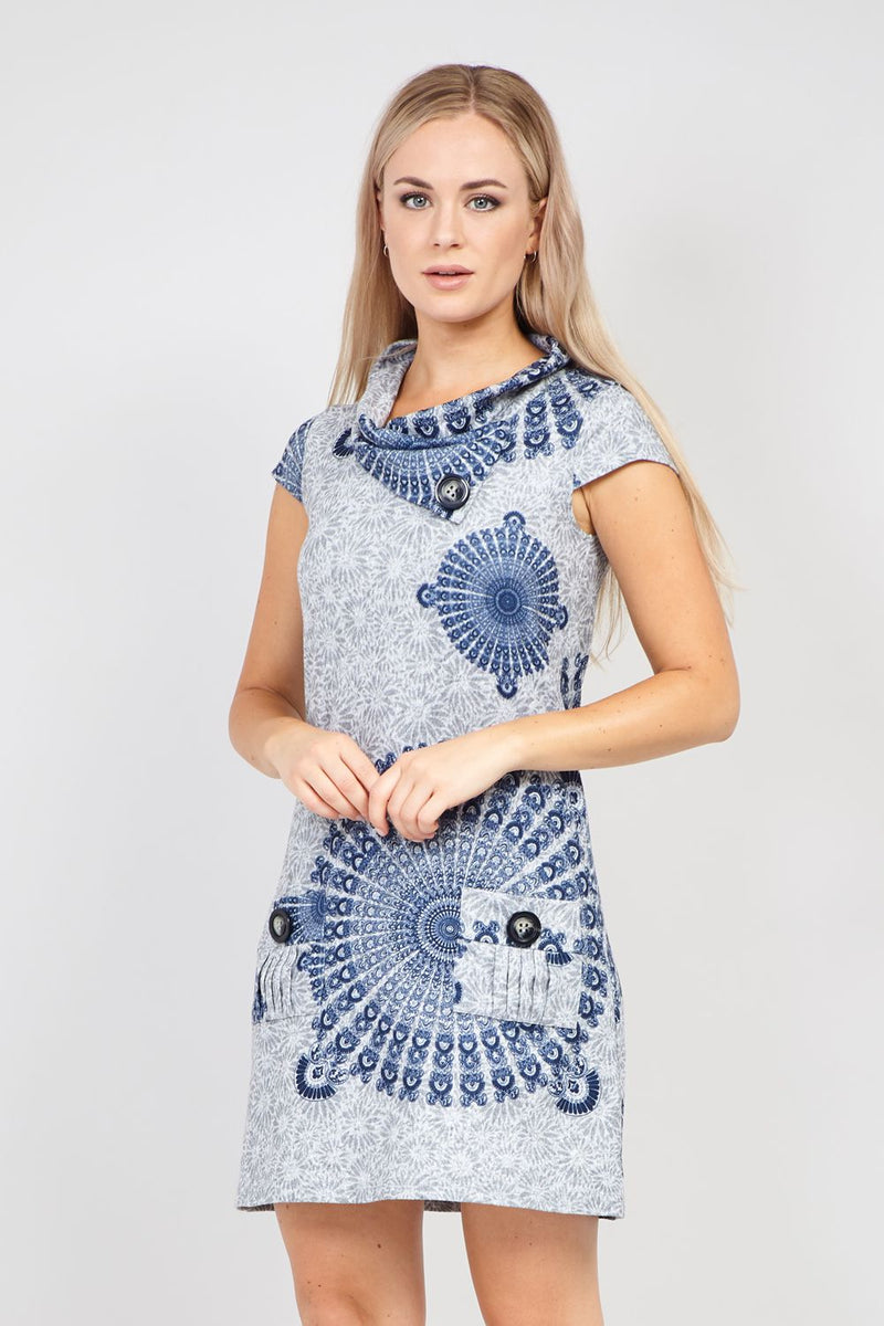 Grey | Eastern Print Knitted Dress