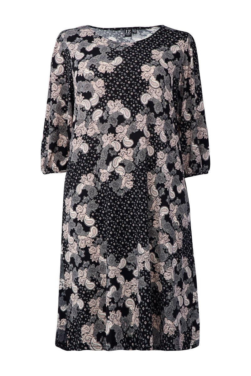 Black | Abstract Floral Shift Dress