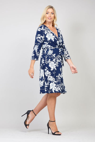 Navy | Curve Floral Wrap Dress