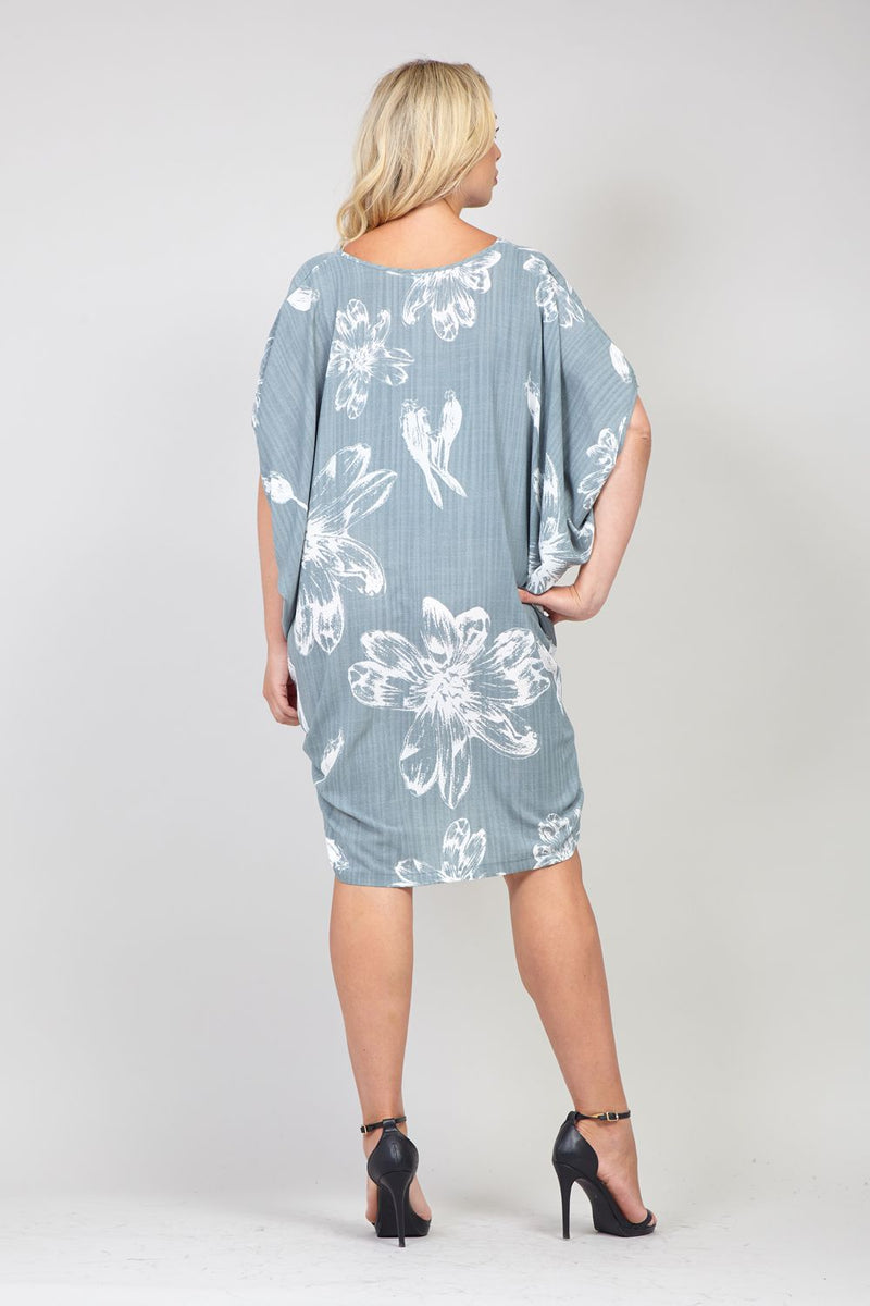 Grey | Curve Floral Smock Dress