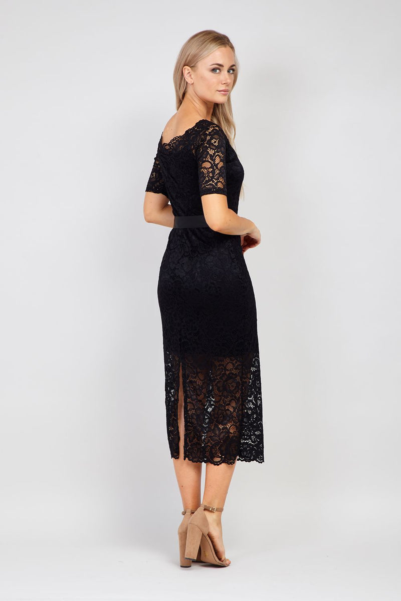 Black | Lace Overlay Maxi Dress