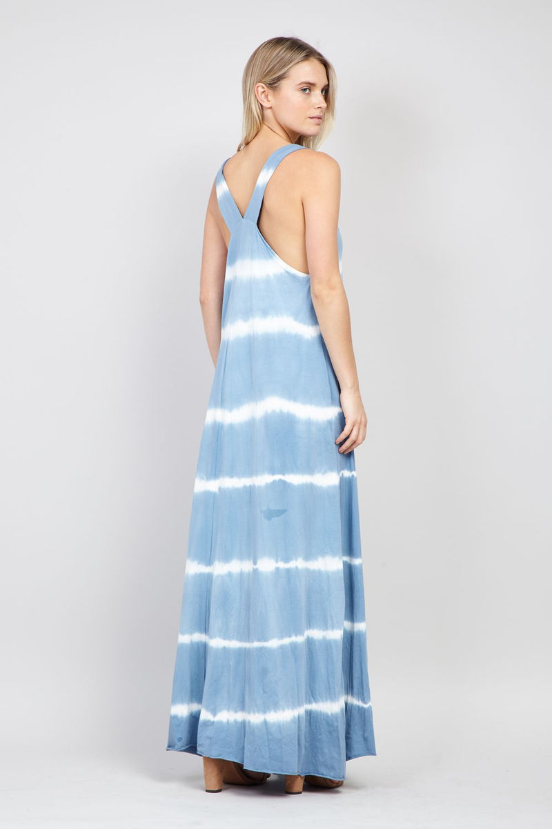 Blue | Tie Dye Racer Back Maxi Dress