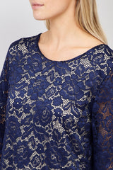 Navy | Floral Lace Shift Dress