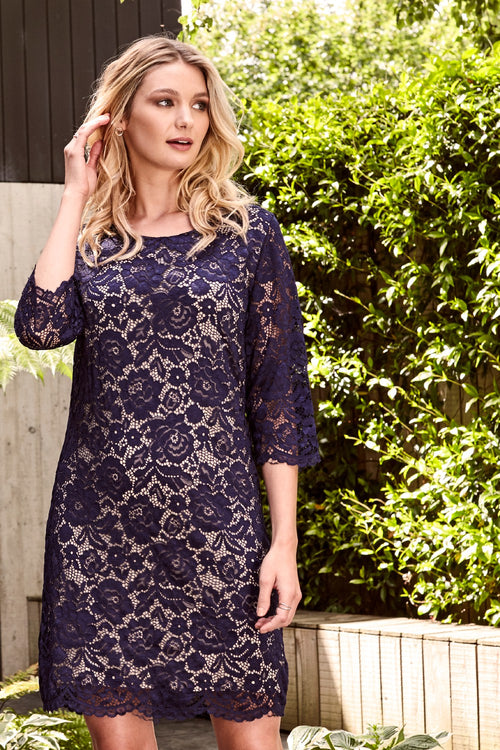 Floral Lace Shift Occasion Dress