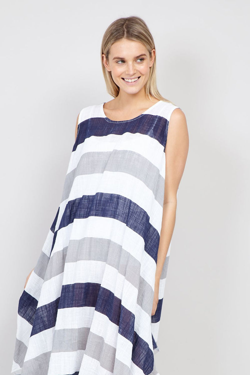 Navy | Striped High Low Hem Dress