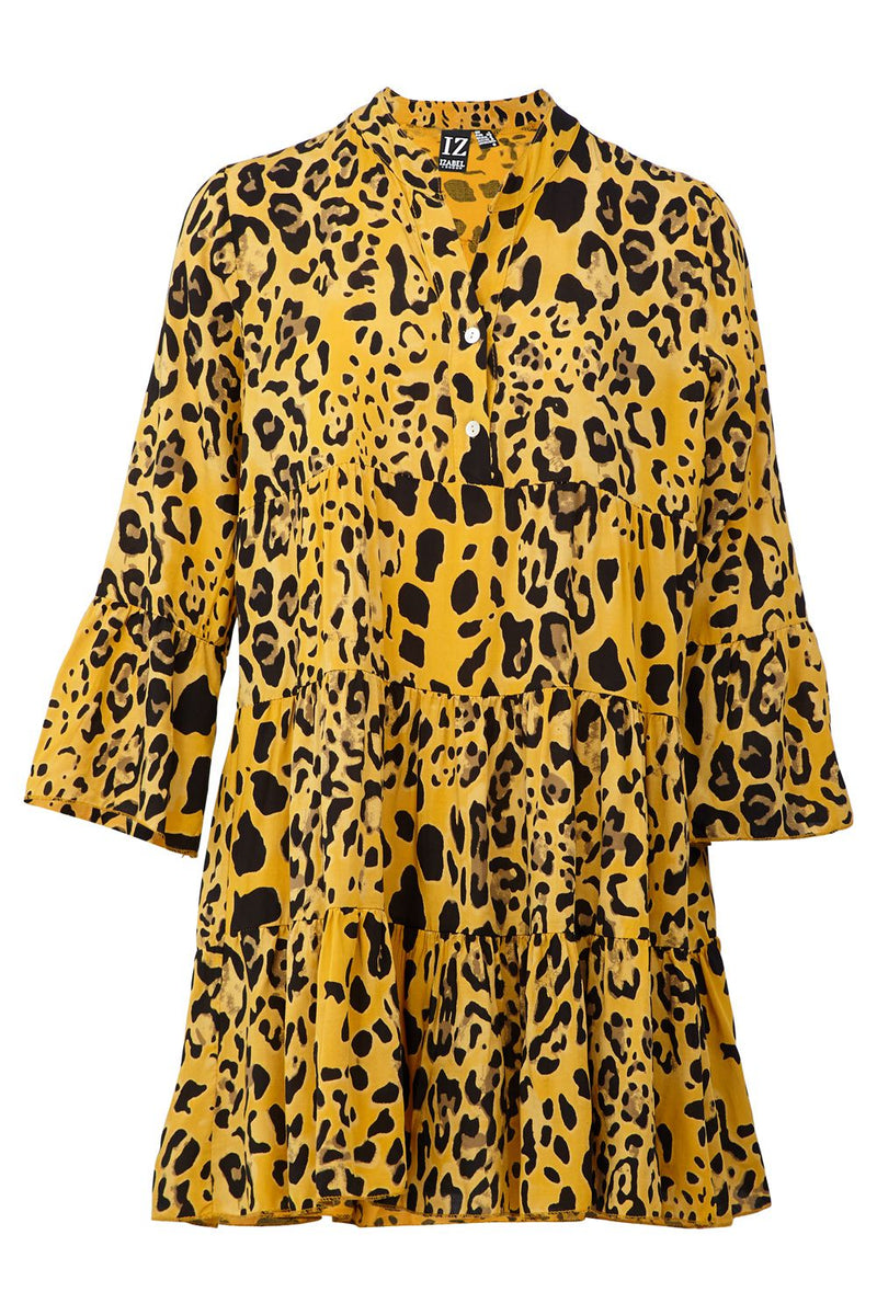 Yellow | Animal Print Shirt Dress